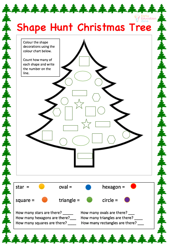 Free Printable Christmas Maths Worksheets - Early Education Zone